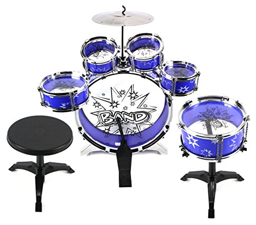 Velocity Toys 11 Piece Children's Kid's Drum Set Musical Instrument Playset w/ 6 Drums, Cymbal, Chair, Drumsticks (Blue)