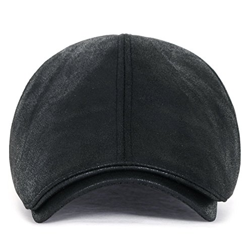 ililily Flat Cap Vintage Cabbie Hat Gatsby Ivy Cap Irish Hunting Newsboy Stretch (XL-Black) (Waxed Cotton Irish Cap compare prices)