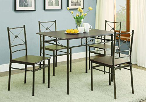 Coaster 100033 Home Furnishings 5 Piece Dining Set, Dark Bronze (Nook Breakfast With Chairs)
