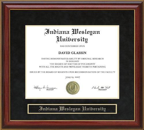 - Indiana Wesleyan University (IWU) Diploma Frame - Mahogany
