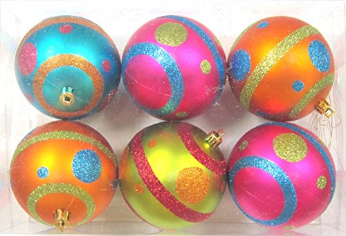 Queens of Christmas WL-ORN-6PK-MDGR 6 Pack Mardi Gras Ball Ornament with Line and Dots Design, Pink/Blue/Orange/Lime Green
