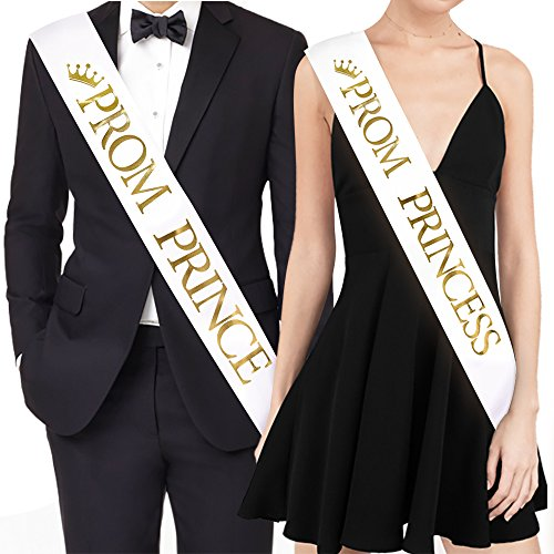PROM PRINCE And PROM PRINCESS Sashes - Graduation Party School Party Accessories, White with Gold Print