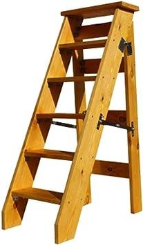XMGJ Escaleras extensibles Taburete con peldaños - Escalera plegable multifunción de madera para el hogar, estante de