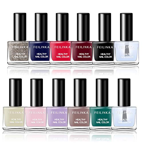 Abitzon New Non-Toxic Nail Polish Set Easy Peel Off & Quick Dry Eco-Friendly Water Based Nail Polish (12 Bottles)