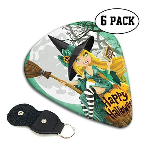 Guitar Picks 6 pcs,Cheerful Smiling Girl In Halloween Costume On A Pumpkin Giant Moon Woodland]()
