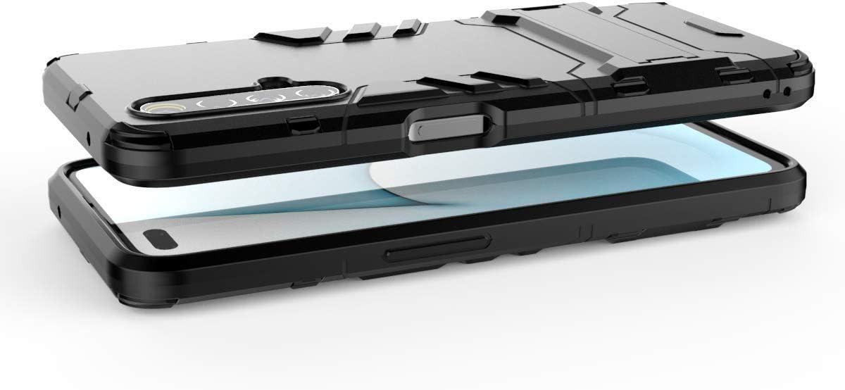 Anti-Ara/ñazos Cubierta Protectora Carcasa Viene con Una Soporte Plegable Wuzixi Funda para Realme X3 SuperZoom Cover para Realme X3 SuperZoom.Negro 2 en 1 H/íbrida Robusto Case