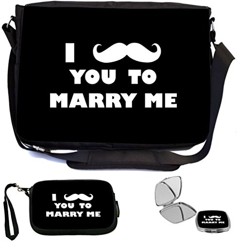 Bridal Knight (Rikki Knight I Mustache You To Marry Me Black Color Design COMBO Multifunction Messenger Laptop Bag - with padded insert for School or Work - includes Wristlet & Mirror)