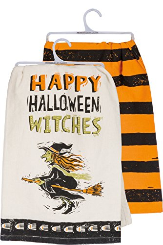 Primitives by Kathy Dish Towel Set - Happy Halloween Witches - Witch Stripe ()