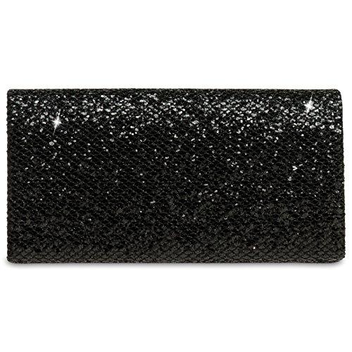 CASPAR TA342 Damen kleine elegante Glitzer Clutch Tasche Abendtasche Schwarz