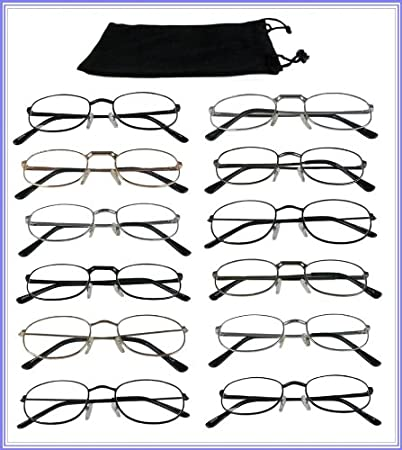 cffb702406ed Amazon.com : Reading Glasses [+2.25] Wholesale Lot 12 Pair Metal Frame  Reader Assorted Styles 2.25. : Beauty