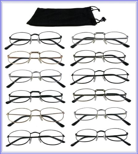 Reading Glasses {+ 2.00] Wholesale Lot 12 Pair Metal Frame Reader Assorted Styles ()