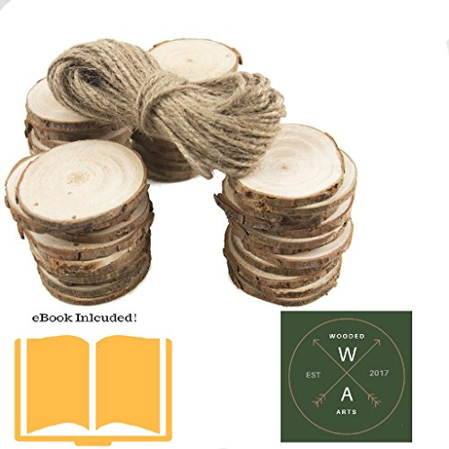 Wood Slices 25pcs - 2.3-2.7 Inch, Natural, Unfinished, Predrilled, Natural, Round, Log Discs - 30 Feet Natural Jute Twine for DIY Craft Project, Christmas Ornament & Wedding Decor - eBook Included