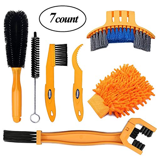 SINGARE 7pcs Bicycle Cleaning Tools Set, Bicycle Clean Brush Kit Suitable for Mountain, Road, City, Hybrid, BMX and Folding Bike Bike Cleaning Brush Set