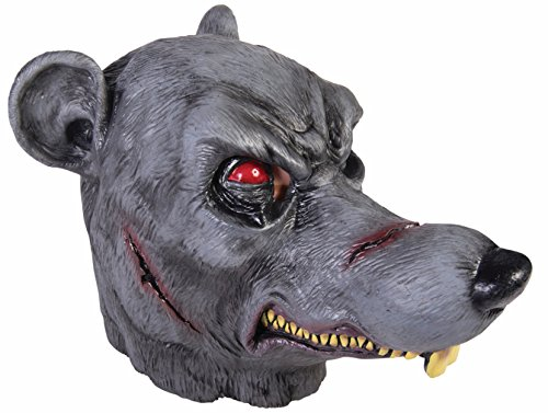 Dead Zombie Rat Latex Mask Rodent Scary Ratman Adult Costume Accessory Grey (Rat Mask)