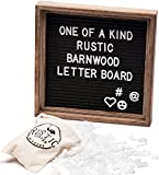 Premium Shabby Chic Black Felt Letter Board Set with Rustic Barnwood Frame 10''x10'' Farmhouse Inspired Baby Announcement Board | 340 Letter Set, Emojis, Wall Hook, Stand and Bag