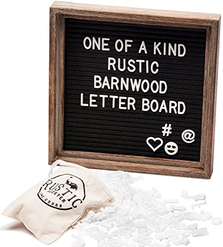 Premium Black Felt Letter Board Set with Rustic Barnwood Frame 10
