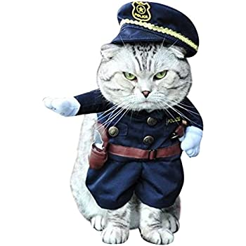 NACOCO Pet Policeman Costumes Dog and Cat Halloween Suits (Medium)