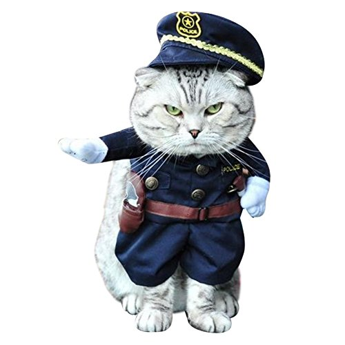 Police Dog Halloween Costume (NACOCO Pet Policeman Costumes Dog and Cat Halloween Suits)