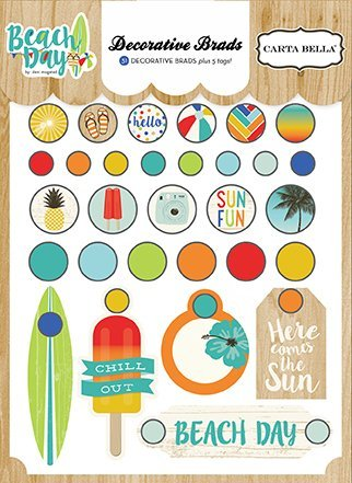 Echo Park Paper Company CBBD54020 Beach Day Decorative Brads by Echo Park Paper Company