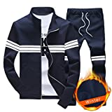Sun Lorence Men's Slim Fit Full-Zip Fleece Lined Sweat Suits Casual Sport Tracksuit Navyblue M