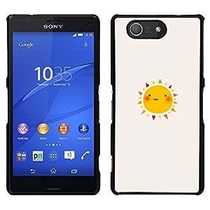 Caucho caso de Shell duro de la cubierta de accesorios de protección BY RAYDREAMMM - Sony Xperia Z3 Compact - Feliz Dibujo Acuarela Soleado