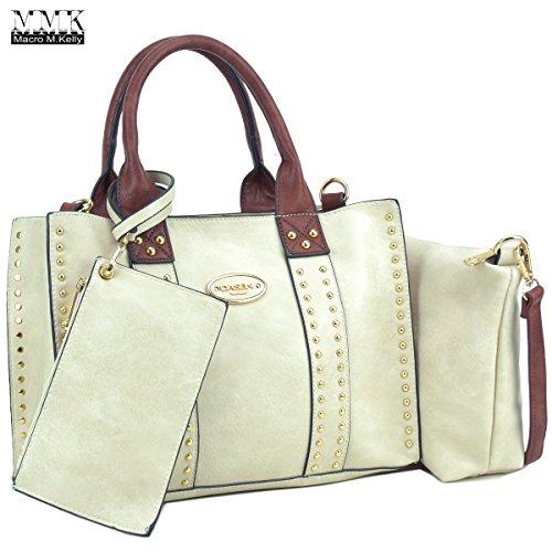 Collection Today - MMK Collection Fashion~Fall & winter color handbag for women~3 set bags with Satchel~wallet~Crossbody handbag (KK-13-0620-W-BG/CF)