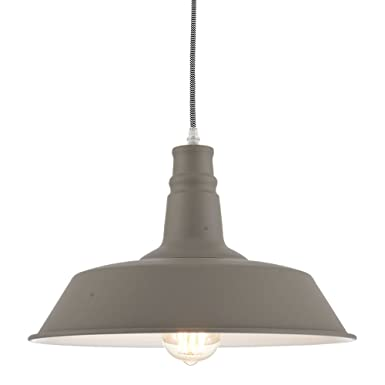 Ohr Lighting Industrial Pendant Light Hanging Warehouse Farmhouse Metal fixture Matte Bright Gray White