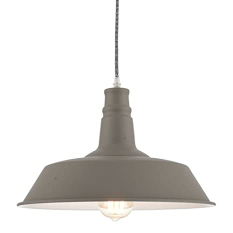 4a988d0b8aa Ohr Lighting Industrial Pendant Light Hanging Warehouse Farmhouse Metal  fixture Matte Bright Gray White - - Amazon.com