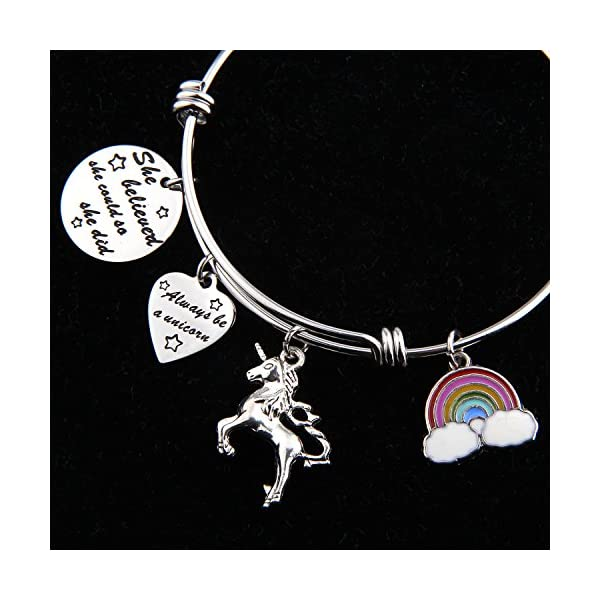 PLITI She Believed She Could So She Did Bracelet Always Be A Unicorn Charm Cuff Bangle Inspirational Jewelry Gift 6