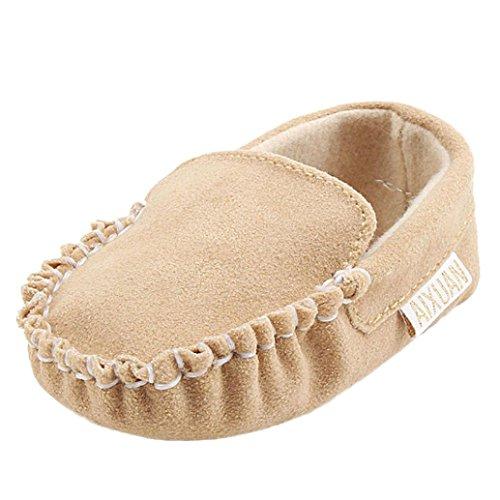 Tefamore zapatos bebes sneaker de primeros pasos de antideslizante de sole suave de moda invierno de calentar de doble velour Marrón