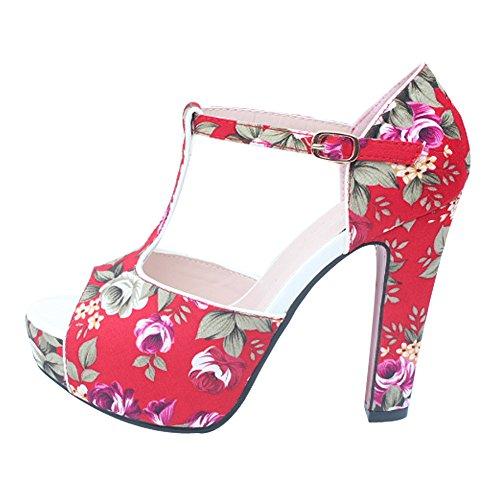 2016 Primavera Nueva Moda Mujer Impresión Chinoiserie Peep Toe Plataforma Sandalias De Tacón Grueso Rojo