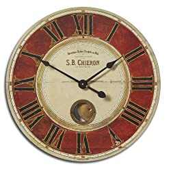 Red and Cream Wall Clock Rustic French | Exposed Brass Pendulum