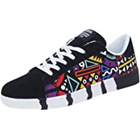 Men's Casual Lace-Up Colorfor Canvas Sport Shoes Sneakers Graffiti Shoes