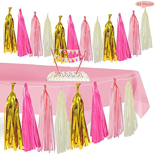 Home Dcoration & Pink Tablecloth,Tissue Tassel Garland Table Cover Skirt for 1st Party Girl Decor, Decorate for Princess/ Unicorn/ Nursery/ Festive Theme, Bonus Mini Happy Birthday Banner Cake Topper
