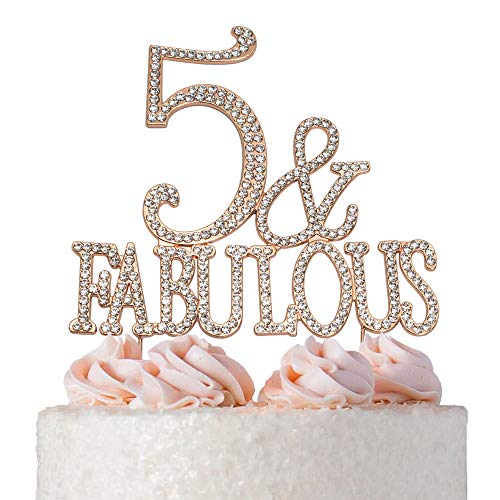 5 and Fabulous Cake Topper | ROSE GOLD | Premium Bling Crystal Rhinestone Diamond Gems | 5th Birthday Party Decoration Ideas | Quality Metal Alloy | Perfect Keepsake
