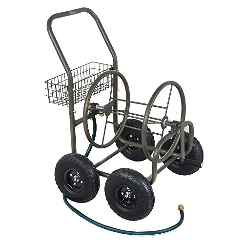 Palm Springs 4 Wheel Portable Garden Hose Reel Cart on Wheels - Holds 250ft Garden Hose (Best Hose Reel Cart)