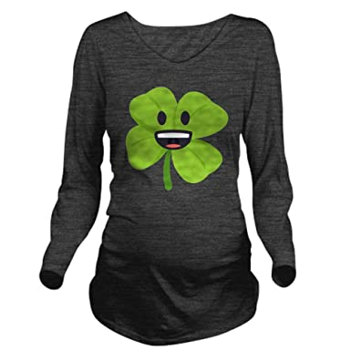 dbdf0d5461bcc Image Unavailable. Image not available for. Color: CafePress Shamrock Face  Long Sleeve Maternity T Shirt ...