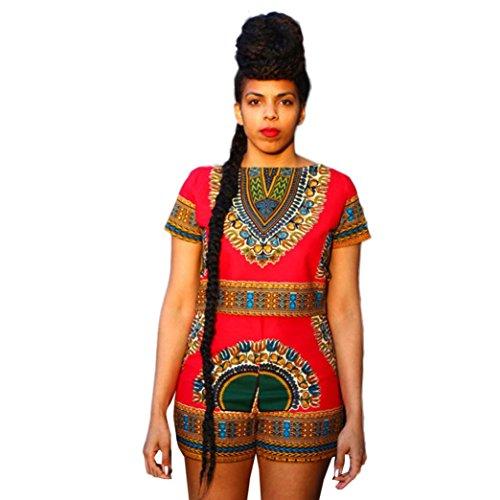 EKIMI Women Dashiki African Print Short Sleeve Tops + Shorts Pants Oufit Set (Pattern Pants Shirt)