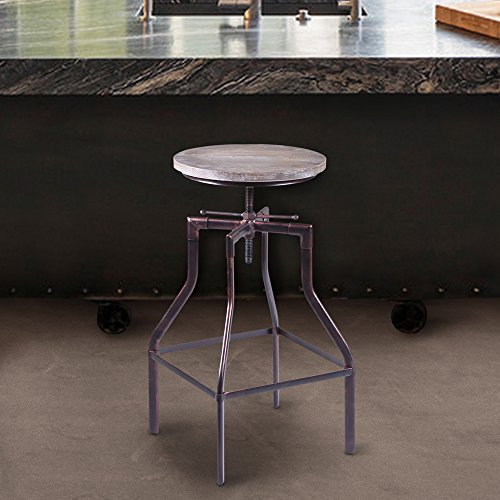 - Armen Living LCCOSTCOWO Concord Adjustable Barstool in Pine Wood and Industrial Copper Finish