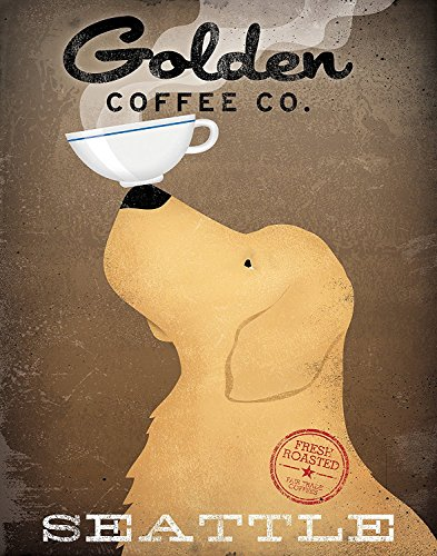 Gango Home Décor Adorable Golden Coffee Company Print Seattle by Ryan Fowler; One 11x14in Paper Poster Print (Seattle Toilet Paper)