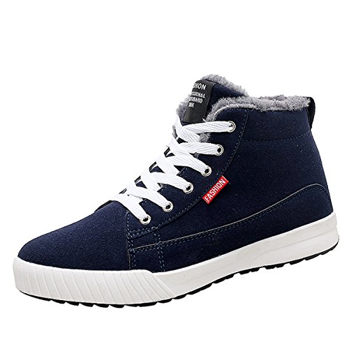 Gracosy Fashion Sneaker, Winter Warm Lace Up Ankle Sneakers Fashion Flat Platform Sneakers High Top Winter Shoes with Fur Lining for Women and Men
