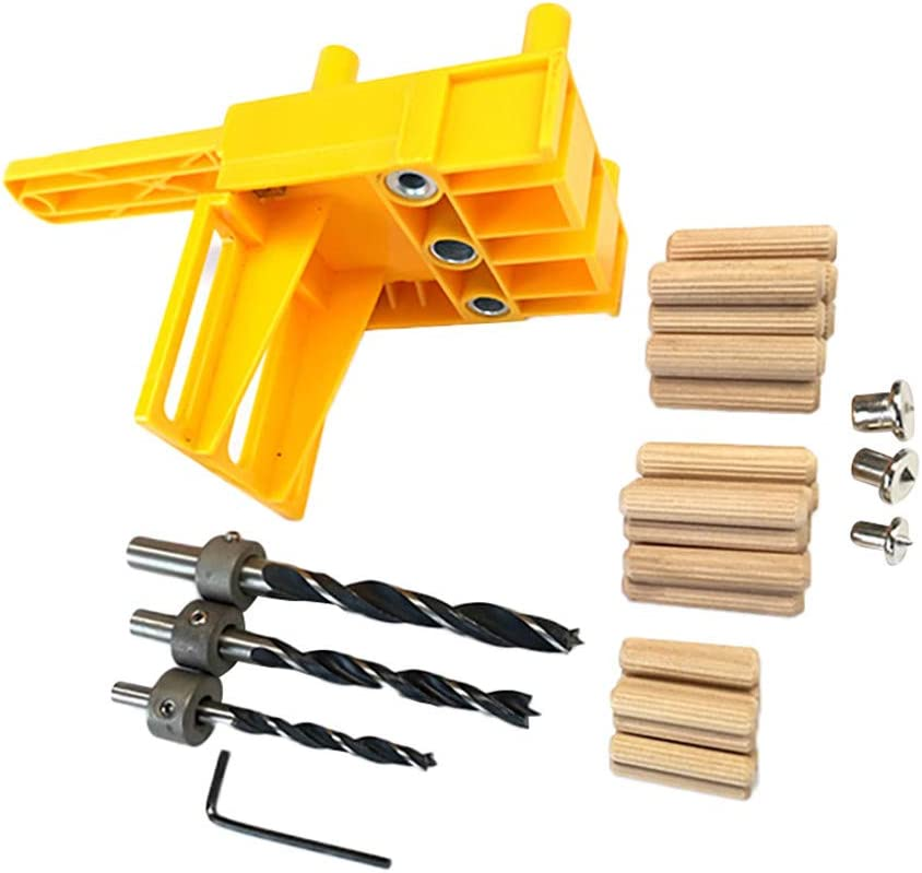 44Pcs Handheld Woodworking Guide Wood Drilling Dowel Hole Saw Doweling Jig Drill
