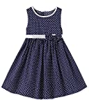 Kidsform Girls Summer Dress Toddler Cotton Sleeveless Floral Print Bowknot Casual Sundress 1-8Years Navy dot 1-2Y