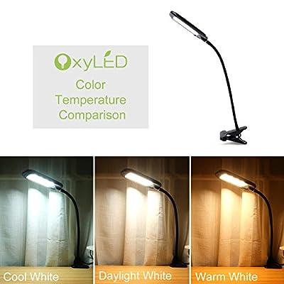 OxyLED Dimmable Eye-Care LED Desk Lamp, Clip On Book Light, Flexible Gooseneck Table Light, 2 Brightness Level & 3 Light Color, Black, T33