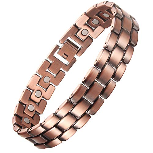 VITEROU Mens Solid Pure Copper Magnetic Therapy Bracelet with Strong Healing Magnets for Arthritis Pain Relief,3500 Gauss,8.5 Inches