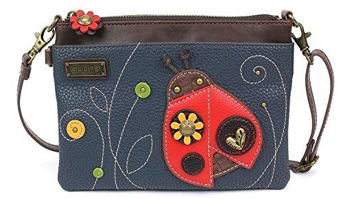 Chala Mini Crossbody Handbag, Multi Zipper, Pu Leather, Small Shoulder Purse Adjustable Strap, Ladybug - Navy