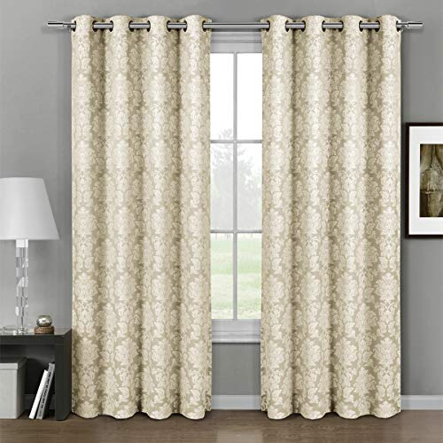 """Deluxe Energy Efficient & Room Darkening. Pair of Two Top Floral Grommet Jacquard Curtain Panel, Elegant and Contemporary Aryanna Panel, Beige, 120"""" L Panel"""