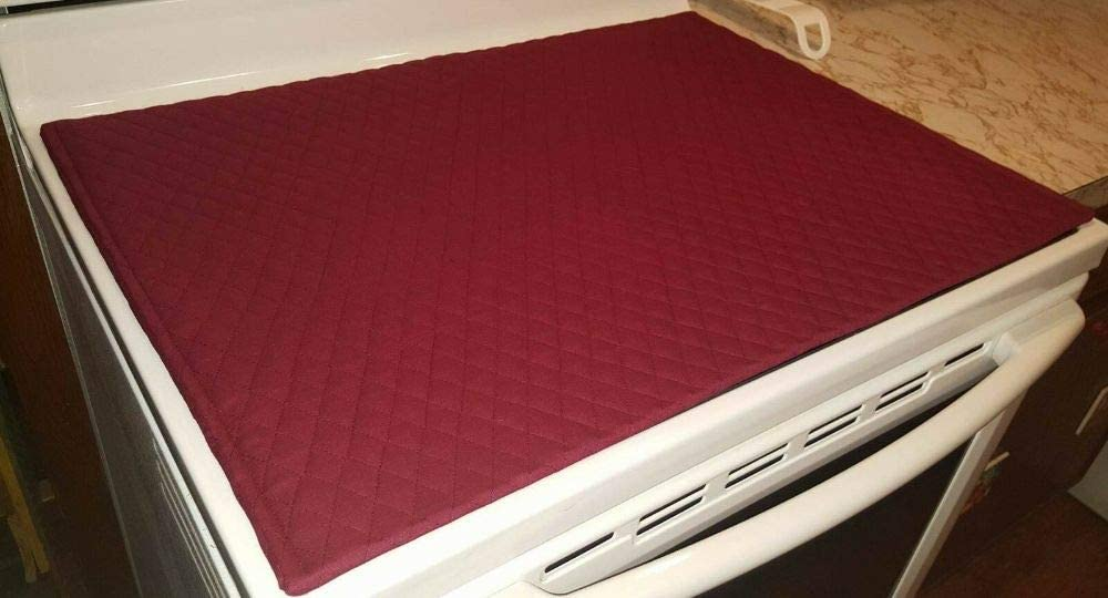 Burgundy Quilted Cover & Protector for Glass/Ceramic Stove Top/Cooktop