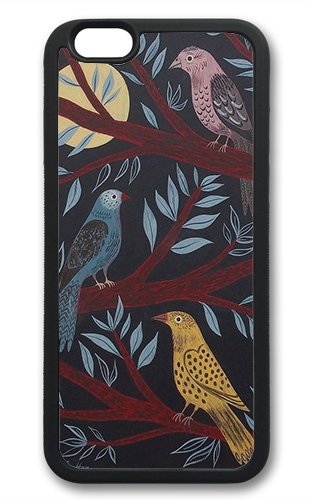 Coque silicone BUMPER souple IPHONE 6 - Bird oiseau vintage motif 2 DESIGN case + Film de protection OFFERT