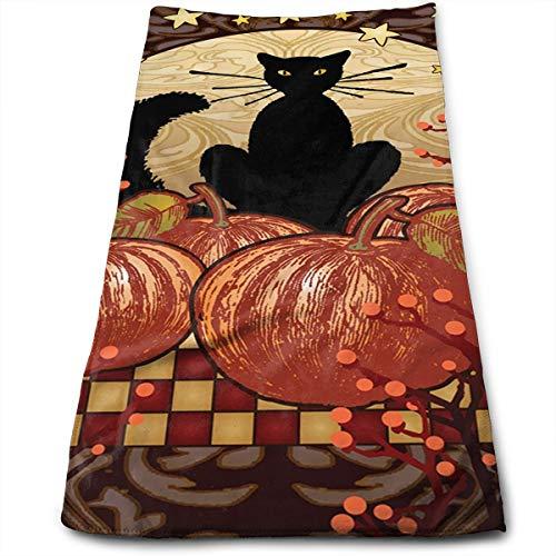 SoR6tH Moonlight Cat Black Pumpkin Halloween Cotton Hand Towels (11.8